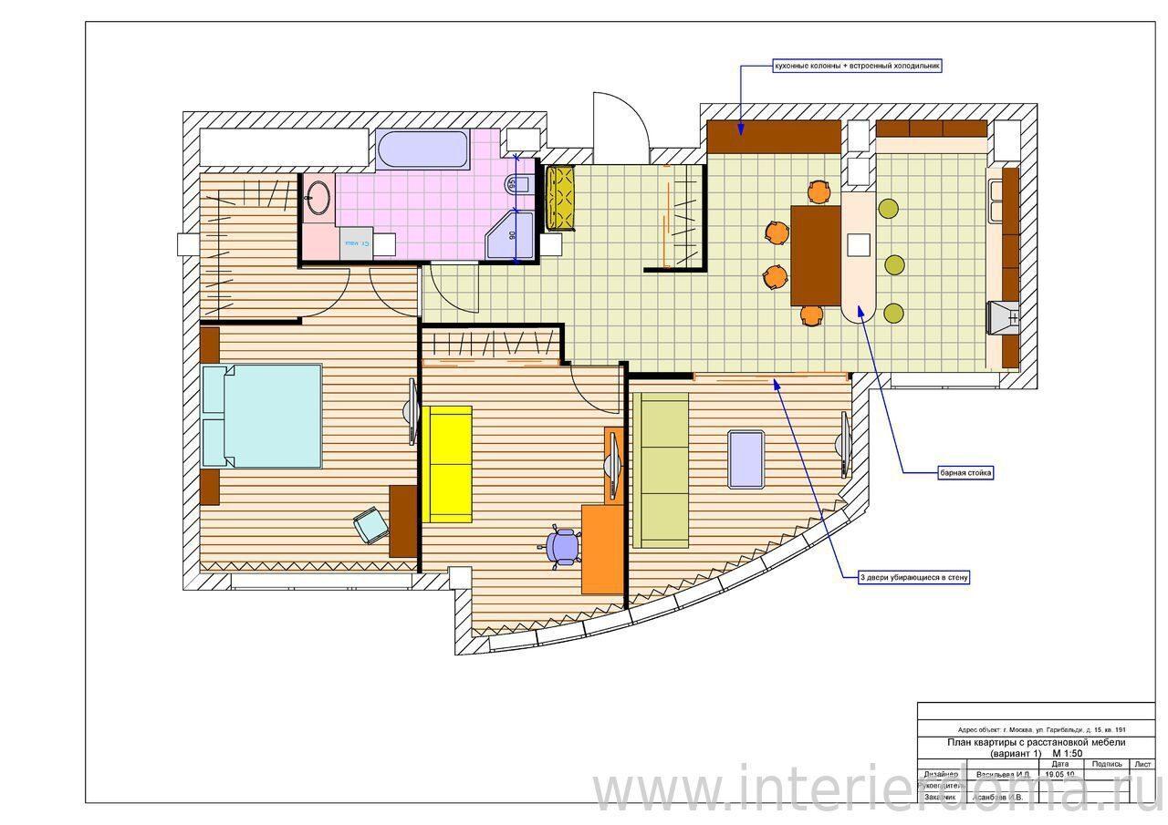 Схемы расстановки мебели в комнате квартиры